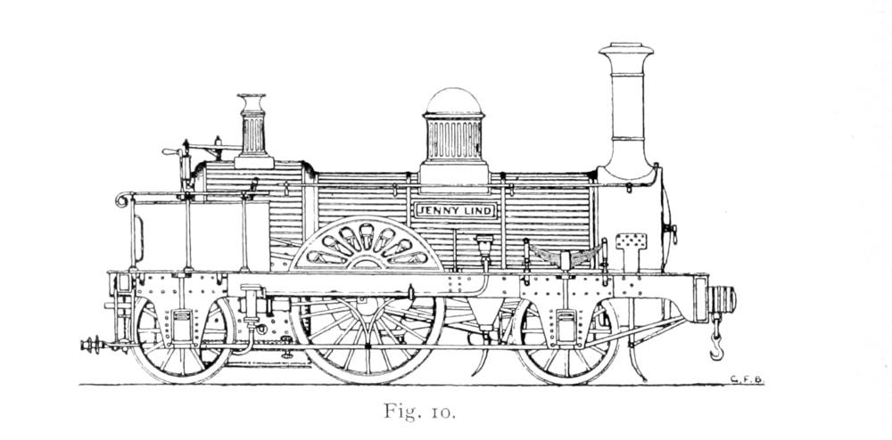 Bird Illustration of a Jenny Lind 2-2-2 locomotive