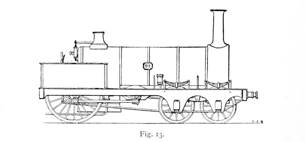 Bird Illustration of an original Crampton Locomotive