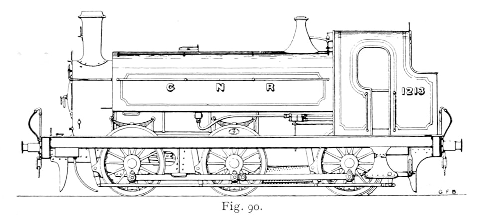 Bird illustration of a 1201 Series locomotive without a dome