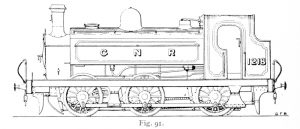 Bird illustration of a 1201 Series locomotive