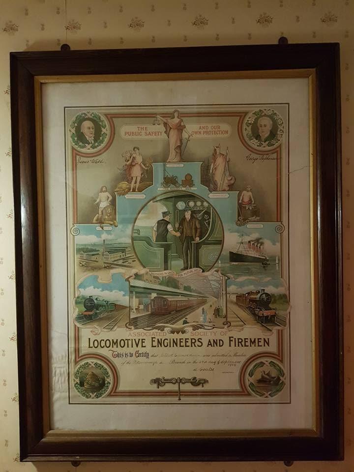 Albert Edward Swain - membership certificate ASLEF 1919