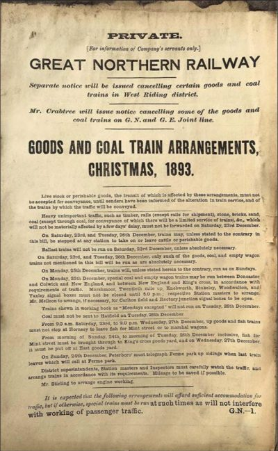 Arcihive: Shipley Goods and coal trains xmas arrangements 1893-1000